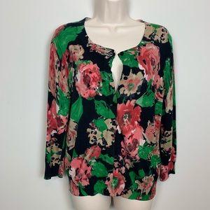 Black Cardigan Floral Talbots